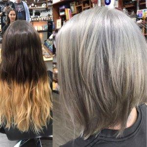 balayage , silver hair